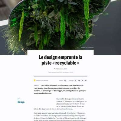Greenmood in Le Monde's article from Maison & Objet 2020